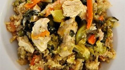 Κοτόπουλο με ψητά λαχανικά και μάνγκο